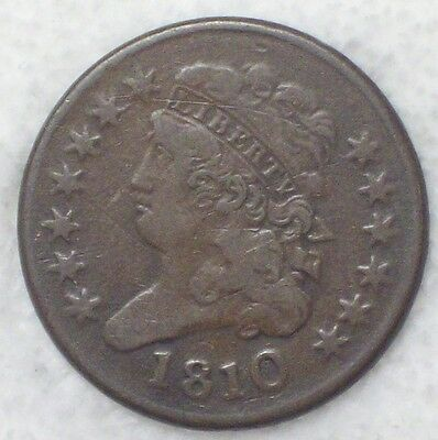 1810 HALF CENT Classic Head - VF Detailing nice color/tone *RARE* Authentic Coin