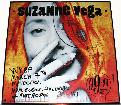 """1992 A&M Records Suzanne Vega Autographed 24""""t Framed 99.5*F Promotional Poster"""