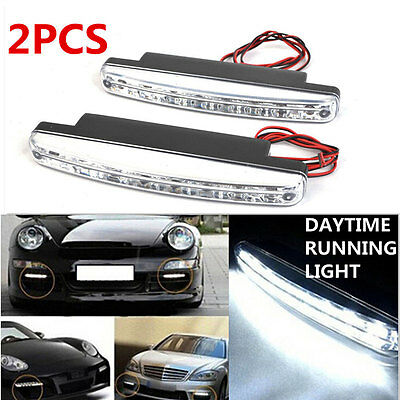 2X Car Vehicles 8LED Daytime Running Light DRL Kit Fog Lamp Day Driving Daylight
