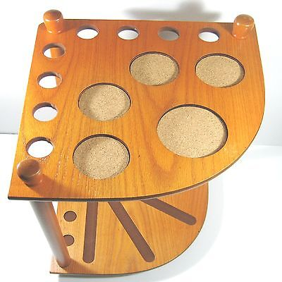Quality Oak Timber Corner Cue Stand Holds 8 Cues & 5 Drink Coasters