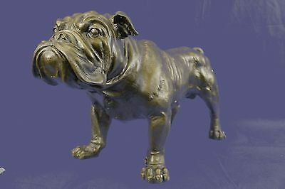 English American Bulldog Original Signed Handmade Dog Figurine Sculpture Statue