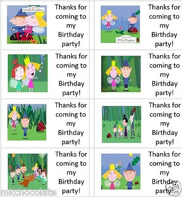 40 x Personalised Ben and Holly labels/stickers/party/cakes/bags