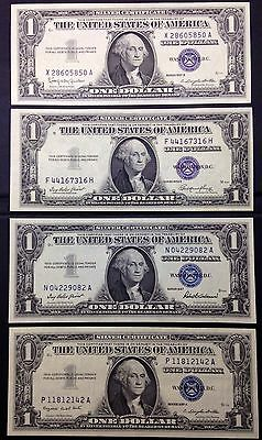 lot of 4 silver certificate notes 1957, 1957A, 1957B, 1935E