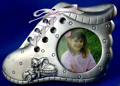 PEWTER Baby GIRL Bootie Photo Frame with PINK Ribbon EXC - in Australia
