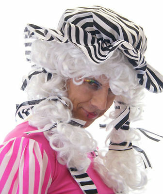 Ugly Sister-Panto Dame-Cinderella-Widow Twanky MALE White /& Pink WIG with Bow