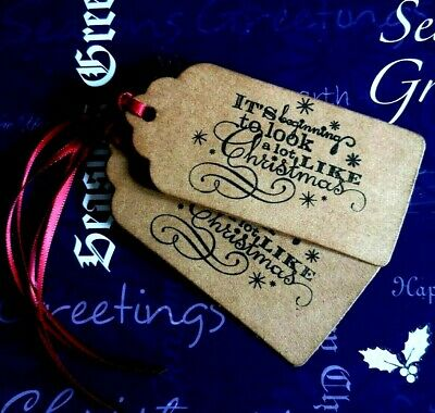 8 Christmas Vintage Rustic Xmas Gift Tags Labels With Ribbon Ties