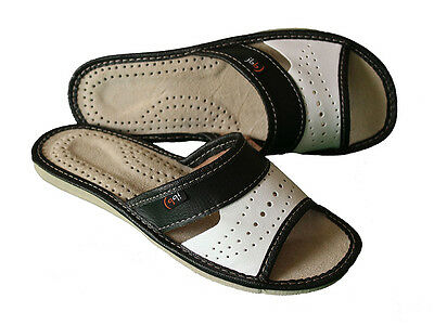 Womens 100% Natural Leather Slip On Sandals Slippers Ladies Mule Black White