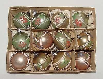 ONE DOZEN Vintage 1940s/50s CHRISTMAS ORNAMENTS In Box!!