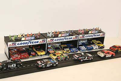 3 X 4 BAY NASCAR GARAGES with 12  RACE COMM CREWS ON THE ROOFS, 3 PIECE SET