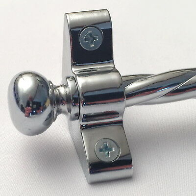 Polished Chrome 3/8 Inch Rope Stair Carpet Rod Round Finial (R03Ror)