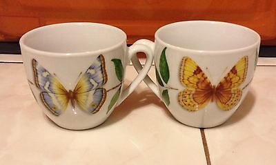 Neiman Marcus Two Sided Butterfly Colored Tea Cups
