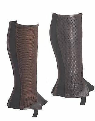 Half Chaps Genuine Breathable Leather With Mesh & Back Zip - Kids - Brown