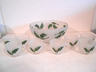 "Federal Glass ""Holly and Berry""  Christmas Punch Bowl Set Frosted Swirl-EX!"