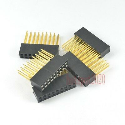10pcs 2.54mm 2x9 18pin Double Row Female stackable Straight Header socket Strip