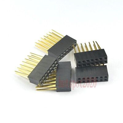 10pcs 2.54mm 2x7 14pin Double Row Female stackable Straight Header socket Strip