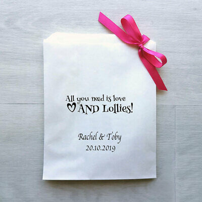 Personalised All you need is love AND lollies! White Paper Lolly Bags x 50