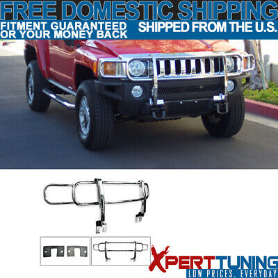 Fit 06-09 H3 Front Bumper Grille Polished Chrome Stainless Steel Brush Guard New