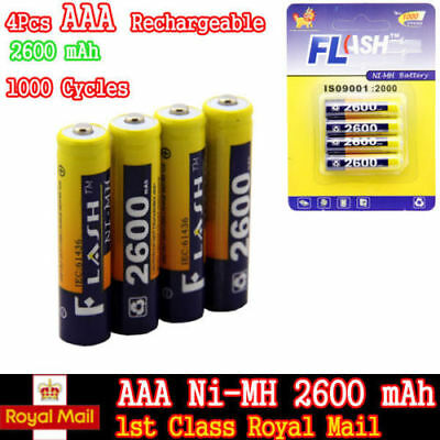 New 4 X Aaa 2600Mah Ni-Mh Rechargeable Battery Batteries High Capacity Digital