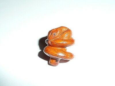 Adorable Detailed Hand Carved Snake Coiled Boxwood Wood Shank Button