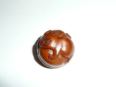 "Cute Hand Carved Bunny Rabbit Round Boxwood Shank Button - Approx. 1"" diameter"