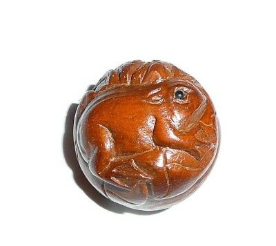 "Cute Frog Round Hand Carved Boxwood Shank Button - Approx. 1"" diameter"