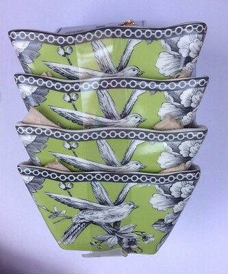 222 Fifth ADELAIDE GREEN & WHITE Square Appetizer Dessert Bowls Set Of 4