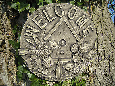 welcome stone garden ornament wall plaque <<VISIT MY SHOP>>