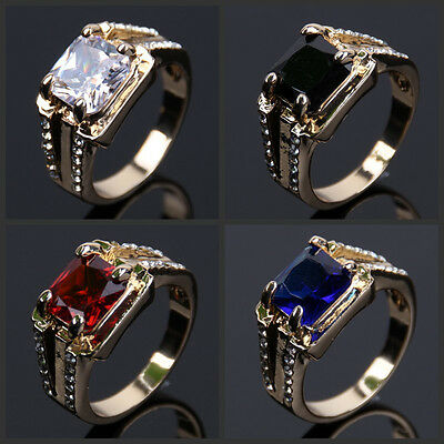 Fashion Size 8 9 10 11 12  Men's 18KGP Yellow Gold Plated  Sapphire Ring