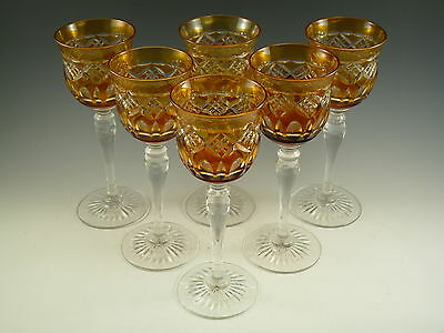 Royal BRIERLEY Crystal - Amber Coloured Hock Wine Glasses - Set of 6