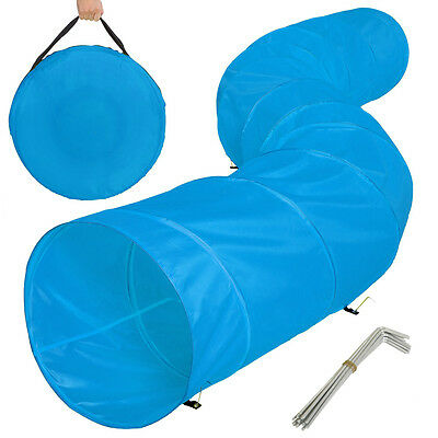 XXL agility tunnel dog training obedience toy play exercise 500cmx60cm blue
