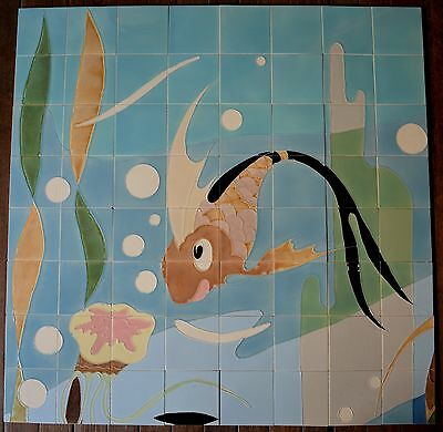 RICHARDS ENGLAND - FISH IN THE SEA -  ANTIQUE PANEL MAJOLICA 64 TILES C1948