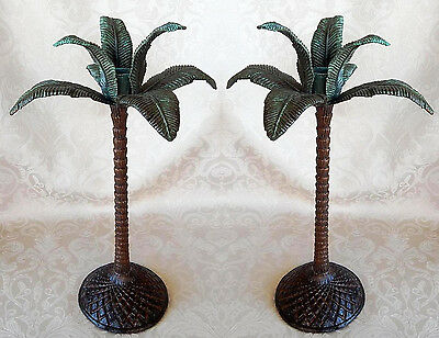 Palm Tree Taper Candleholders Set of 2 Tropical Beach Decor 10 Inch Iron