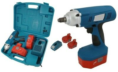 """Heavy Duty 24V 1/2"""" Drive Cordless Impact Wrench Ratchet & 2 Batteries In Case"""
