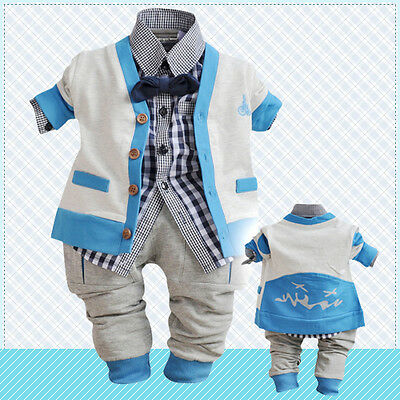 Toddler Boy 3 PC Outfit Set Party Suit Size1-4 Years Cardigan+Top+trousers.