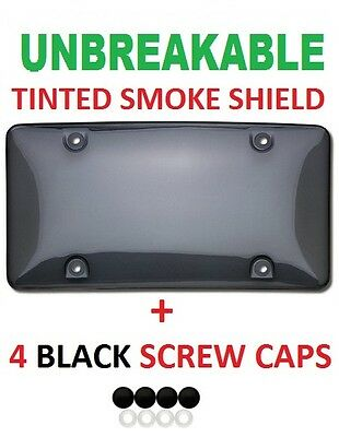 Tinted UNBREAKABLE License Plate Shield Cover + 4 Screw Caps for LAND ROVER