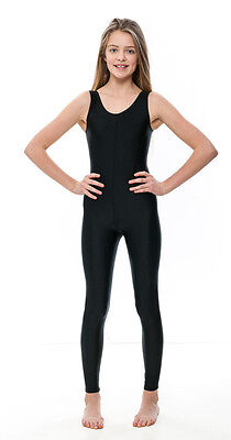 Girls Childrens Black Lycra Sleeveless Footless Catsuit Unitard KDC016 By Katz