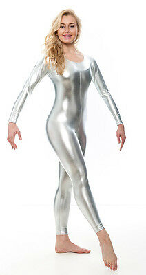 Silver Shiny Metallic Dance Fancy Dress Long Sleeve Catsuit KDC017 By Katz