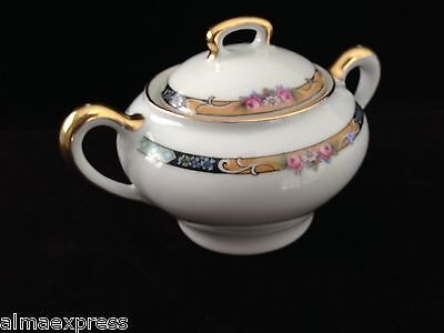 Gimbel Brothers KPM Bavaria Germany China 27044-4576 Roses & Gold SUGAR BOWL
