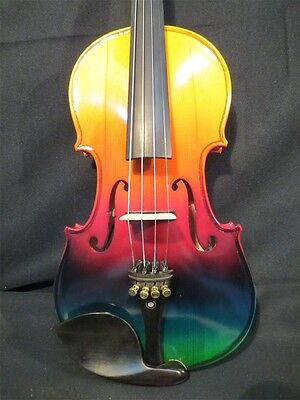Beautiful Colorful electric & acoustic violin 4/4 perfect sound 9667