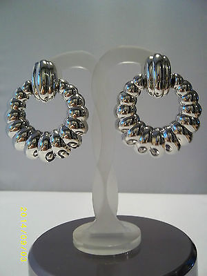 Gold Silver Tone Ridge Creole Style Chunky Statement Clip on Vintage Earrings