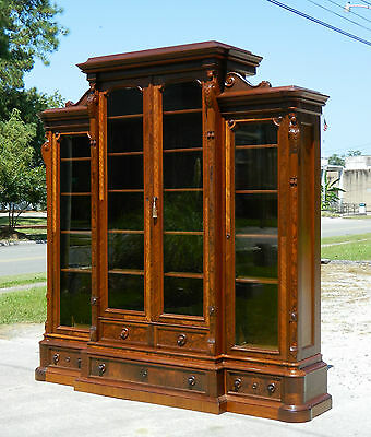 Walnut Victorian Renaissance Three  Sectioned Bookcase Display Cabinet c1865