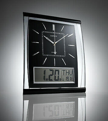 KG Homewares Silent Wall Clock Digital Large Jumbo Display Black
