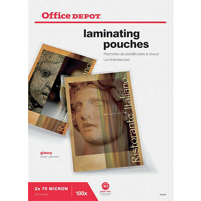 Office Depot A3 Laminating pouches 150 micron pack 100 laminator sheets