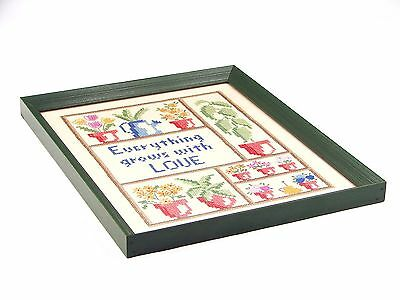 Vintage Cross Stitch Finished Everything Grows With Love Framed Sampler 1986