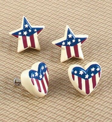 4 Americana Drawer or Cabinet Pulls Knobs - Stars and Hearts - Patriotic - NEW • CAD $12.55