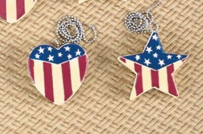 Two Americana Fan Pulls - Stars and Hearts - NEW - US Flag - LAST ONE!!!