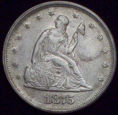 1875 P 20 Twenty Cent Piece SILVER AU Detailing *RARE 39,700 Minted* Authentic