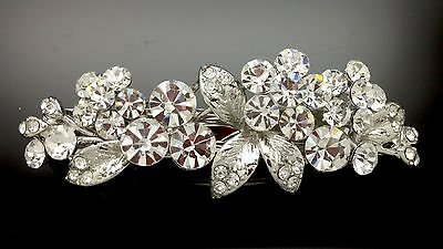Flower Blossom Formal Wedding Crystal Large Hair Barrette Comb Clip 8cm Diamante