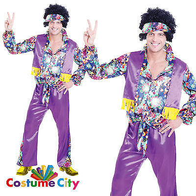 Adult Mens 1960s 70s Groovy Guy Hippy Hippie Fancy Dress Stag Party Costume