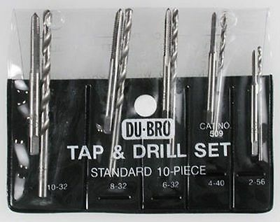 10pc Standard Tap & Drill Assorted Set by Du-Bro for RC hobbys DUB509